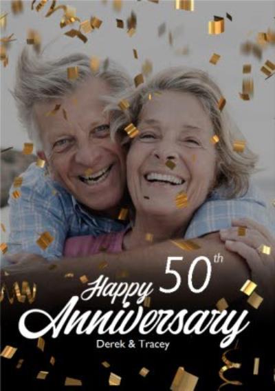 Happy Anniversary Gold Confetti Photo Upload Card