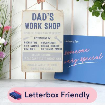 Letterbox Dad's Workshop Metal Sign