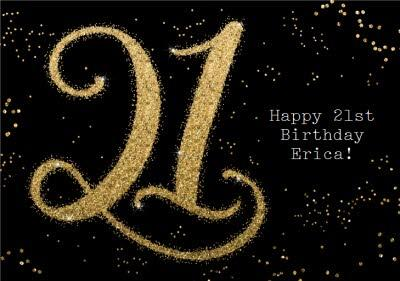 Metallic Gold Lettering 21st Birthday Card