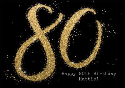 Metallic Gold Glitter 80th Personalised Birthday Card