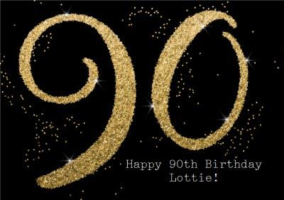Metallic Gold Glitter 90th Personalised Birthday Card
