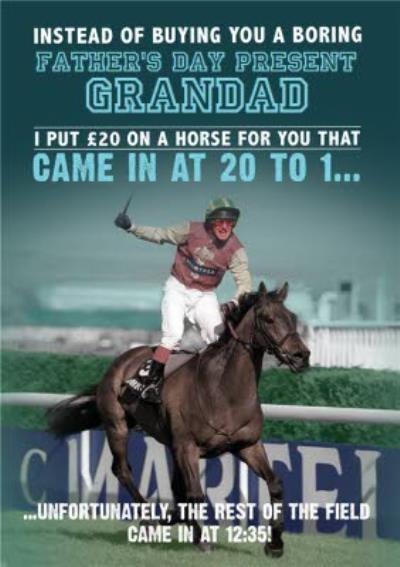 Put £20 On A Horse Funny Grandad Father's Day Card