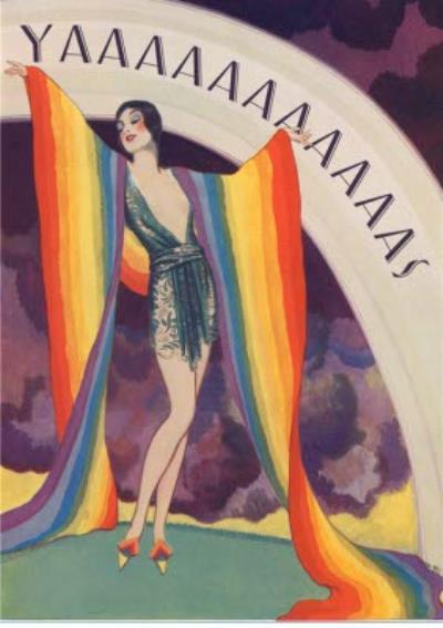 Birthday Card - Retro Illustration Humour Pride rainbow Postcard