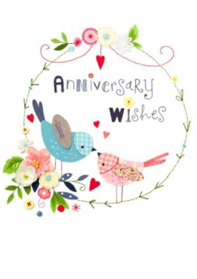 UK Greetings Carlton Cards Floral Anniversary Card