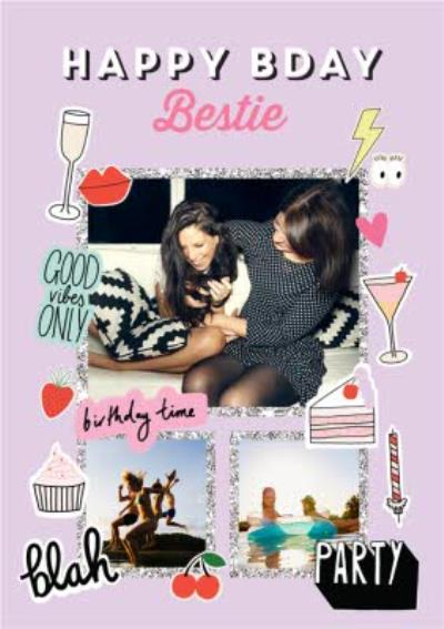 Happy Bday Bestie fun modern photo upload card - best friend