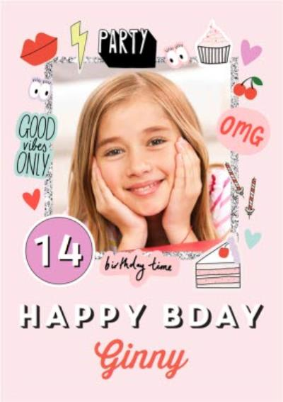 Good Vibes Only OMG Party Stickers Photo Upload Birthday Card