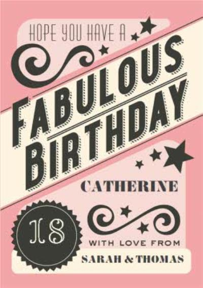 Hope You Have A Fabulous Birthday Personalised Card