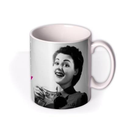 Pink and Grey Polka Dot Personalised Text Photo Upload Mug