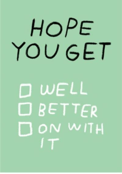 Get well card - check list