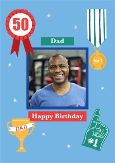 Illustrated Sports Number One Dad Medal Cup Fathers Day Card