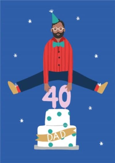 Illustrated Cute Leapfrog Birthday Cake Dad 40 Today Card
