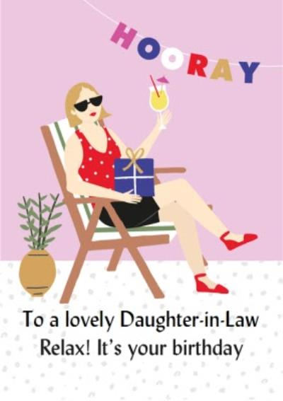 Illustrated Cute Sunbathing Deck Chair Relax Its your Birthday Card