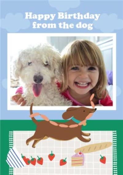Illustrated Sausage Dog Happy Birthday From The Dog Photo Upload Card