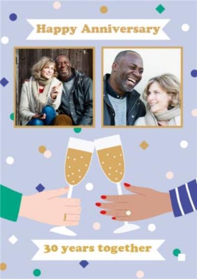 Multi Personalised Photo Cheers Illustration 30th Anniversary Card