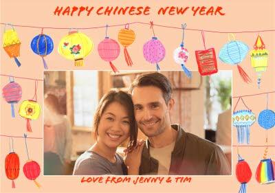 Hand Drawn Chinese New Year Photo Upload Card