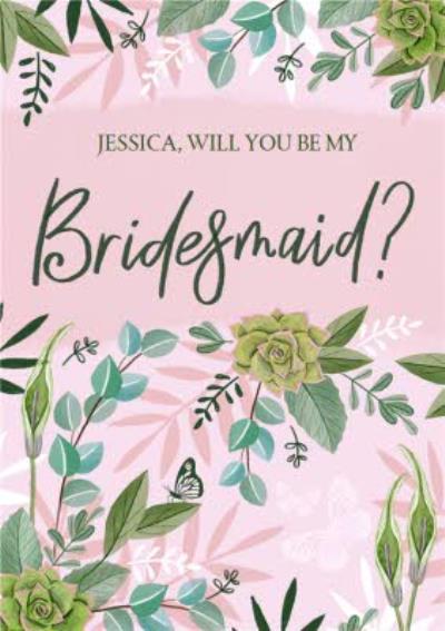 Floral Illustratation Will you Be My Bridesmaid Wedding Card