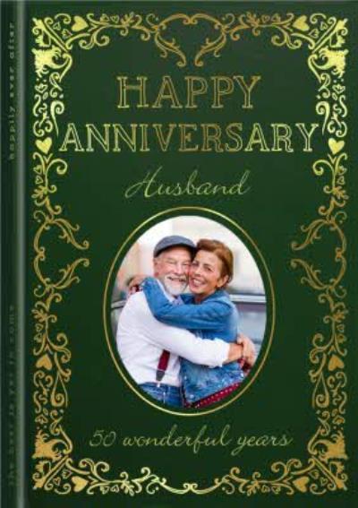 Happy Anniversary Husband 50 Wonderful Years Photo Upload Card