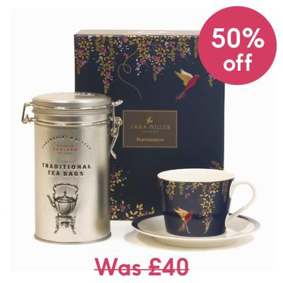 Sara Miller Cup, Saucer & Tea Gift Set