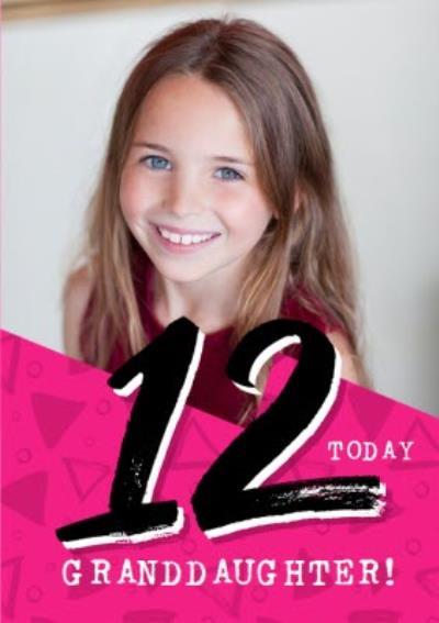 Bright Typographic Photo Upload 12th Birthday Card