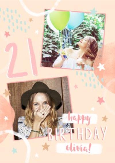 21st Birthday Friend Photo Upload Card
