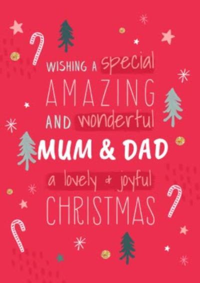Wishing You a Lovely and Joyful Christmas Mum And Dad Christmas Card