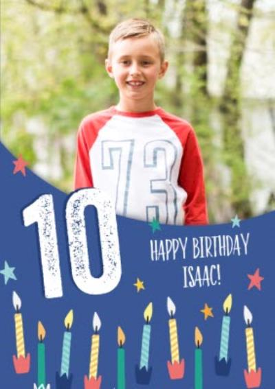 Modern Illustrated Candles 10th Birthday Photo upload Card