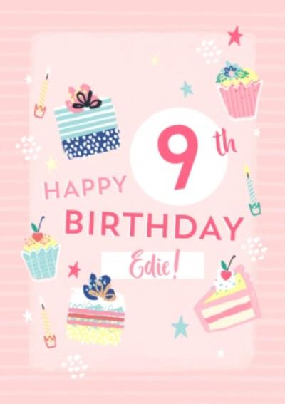 Illustrated Cupcakes and Cake Personalised age Birthday Card