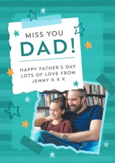 Modern Illustrated Miss You Father's Day Card