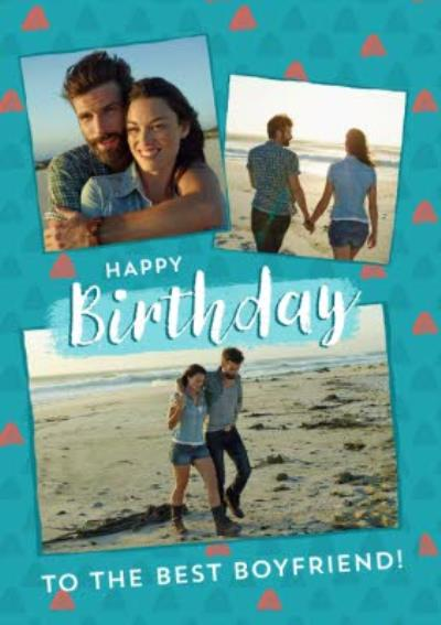 Triangle Pattern Design Happy Birthday ToThe Best Boyfriend! Photo Upload Card