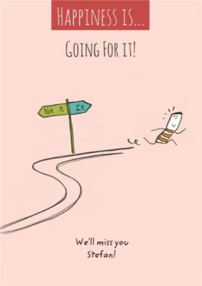 Go For It Illustration Personalised Leaving Card