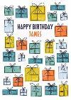 Modern male birthday card for him - presents