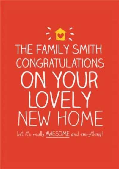 Red Congratulations On Your Lovely New Home Personalised New Home Card