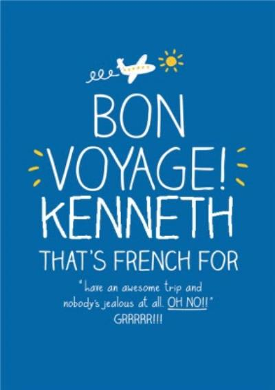 Have An Awesome Trip Personalised Bon Voyage Card