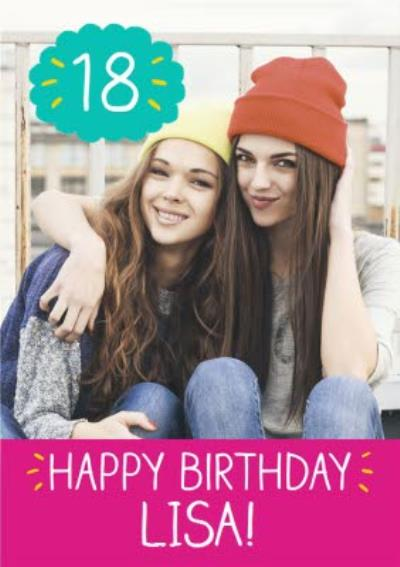 Pink Panel Personalised Photo Upload Happy 18th Birthday Card