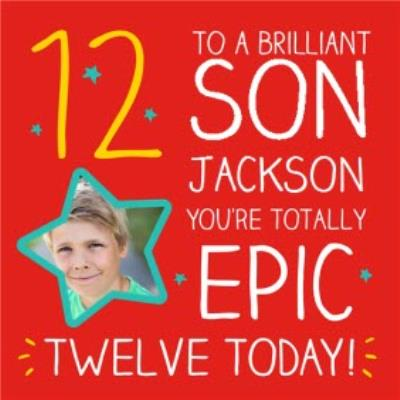 Happy Jackson Brilliant Son12th Birthday Photo Upload Card