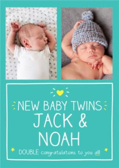 Happy Jackson New Baby Twins Photo Upload Card