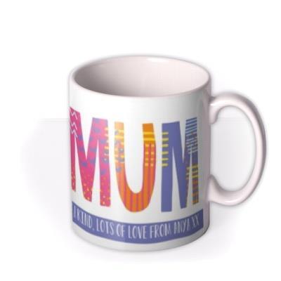Brightly Patterned Number One Mum Custom Text Mug