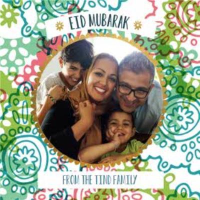 Colourful Patterned Eid Mubarak Photo Card