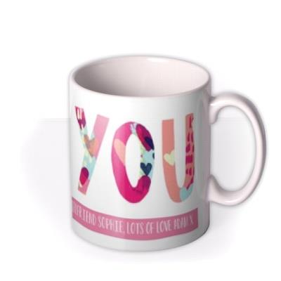 Brightly Patterned Love You Custom Text Mug
