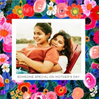 Bright Neon Floral Border To Someone Special On Mother's Day Card