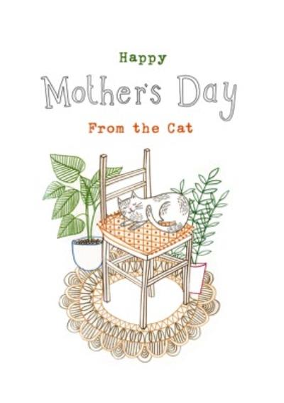 Sleeping Kitty From The Cat Happy Mother's Day Card
