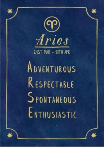 Funny rude horoscope birthday card - Aries