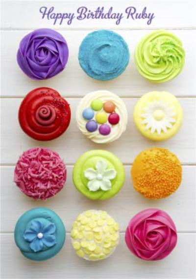 Colourful And Bright Cupcakes Personalised Happy Birthday Card