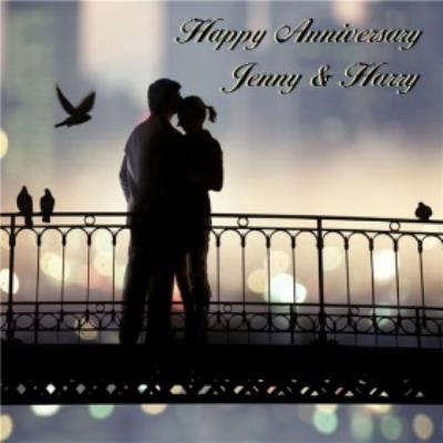 Romantic In Shadow Personalised Happy Anniversary Card