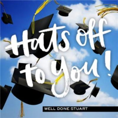 Flying Caps Hats Off To You Personalised Graduation Congrats Card