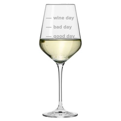 'Good Day, Bad Day' Engraved Wine Glass