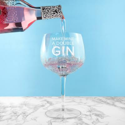 Make Mine A Double Engraved Crystal Gin Goblet