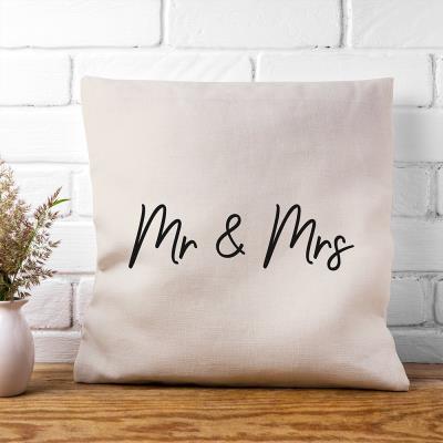 Mr & Mrs Canvas Cushion Cover