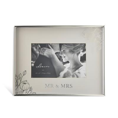 Silver Floral Foil Detail 'Mr & Mrs' Photo Frame