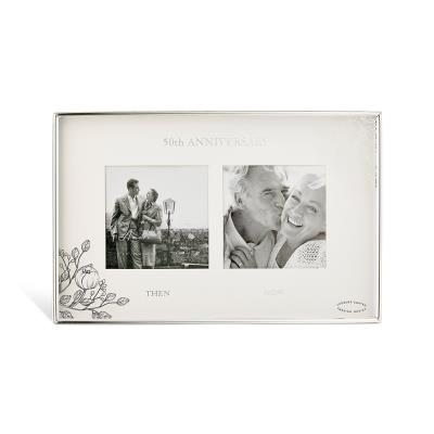 50th Anniversary Silver Floral Double Frame